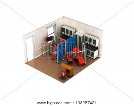 Isometric Dental Beige Room 3D Rendering On White Background