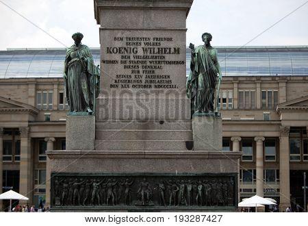 King Wilhelm Jubilee Column( Victory Column) in the city center Stuttgart Germany