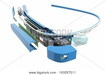 Interactive Glasses Disassemble In Parts 3D Render On Blue Glossy Stain