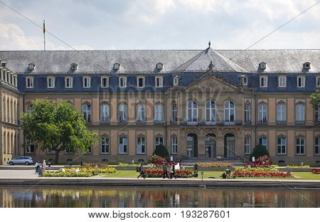 STUTTGARTGERMANY- MAY 31 2012: Neues Schloss (New Castle). Palace of the 18th century in baroque style in Germany Stuttgart