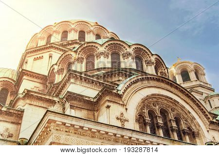 Part of Alexander Nevsky Cathedral in Sofia with burning sun the capital of Bulgaria