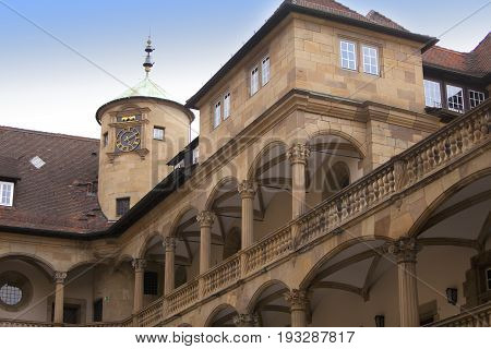 courtyard of the Old Castle (10th century) in Stuttgart.