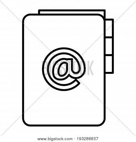 folder document with arroba symbol vector illustration design