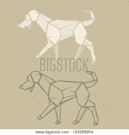 Set vector simple illustration paper origami and contour drawing of labrador.