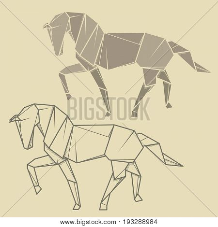 Set vector simple illustration paper origami and contour drawing of horse.