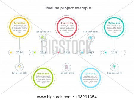 Business Process Chart Infographics With Step Circles. Circular Corporate Timeline Graphic Elements.