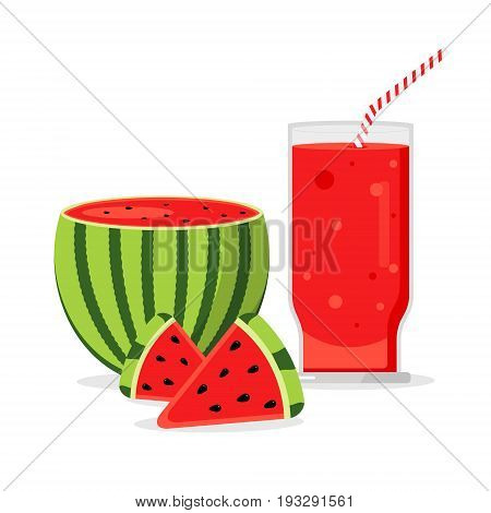 Slices of watermelon with glass of fresh juice isolated on white background. Juicy refreshing cocktail drink. Sweet healthy summer fruit smoothie. Blended organic refreshment water melon shake.