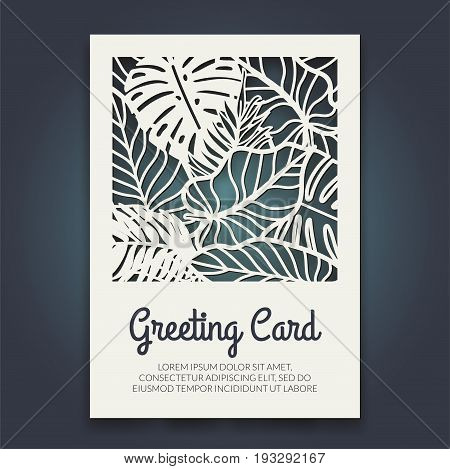 Beautiful card with palm tree leaves. Rain forest motif. Vector template for laser cutting. Can be used as invitation, envelope, greeting card. Paper craft silhouette.
