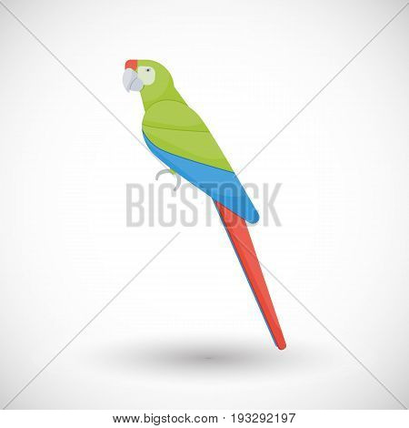 Great green macaw flat vector icon Flat design of animal or wildlife object with round shadow isolated on the white background vector illustration