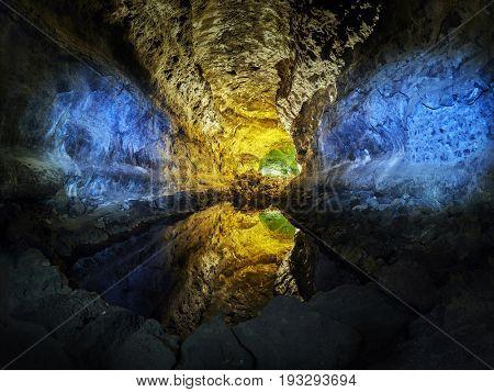 Cueva de los Verdes Green Cave in Lanzarote island, Canary Islands, Spain
