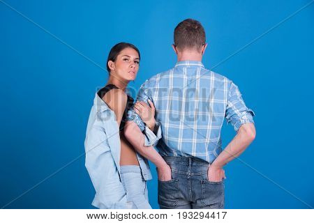 Fashionable Couple Of Denim Woman And Man