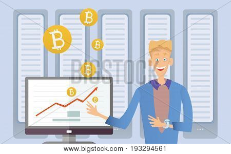 Mining bitcoin concept. Young man sitting at the computer in the server room. Cryptocurrency mining farm. Vector cartoon illustration.