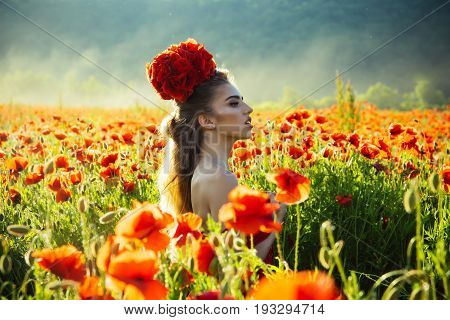 Poppy Seed Bouquet At Girl With Long Curly Hair