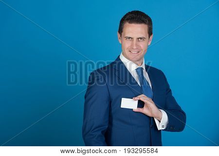 Man Smiling With Bank Or Business Card