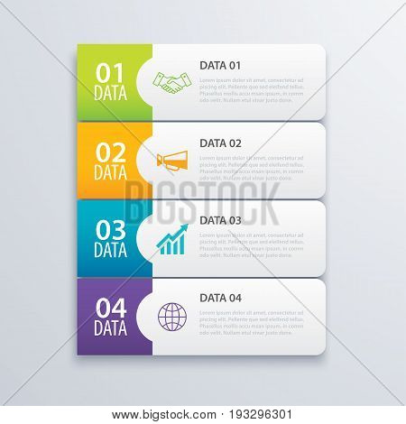 4 infographic tab index banner design vector and marketing template business. Can be used for workflow layout diagram annual report web design. Business concept with steps processes.
