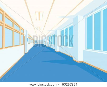 Interior of school hall with blue floor, windows and columns. Vector illustration. Corridor of college or university in flat style. Simple perspective view of empty space. Scene for your artwork or design.
