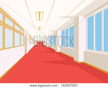 Interior of school hall with red floor, windows and columns. Vector illustration. Corridor of college or university in flat style. Simple perspective view of empty space. Scene for your artwork or design.