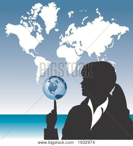 A business woman balances the planet earth on her fingertip with world map in the background poster