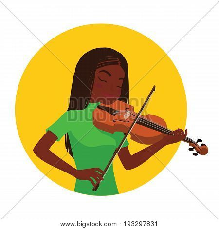 Musician playing violin. African girl violinist is inspired to play a classical musical instrument. Vector illustration in cartoon style in the yellow circle on white background for your design and print.