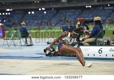 Rio de Janeiro Brazil - august 16 2016: PROCTOR Shara (GBR) during women's Long Jump in the Rio 2016 Olympics Games