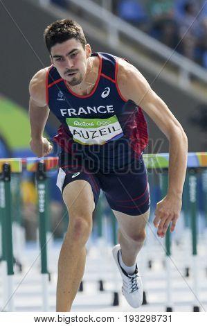Rio de Janeiro Brazil - august 18 2016: Runner AUZEIL Bastien (FRA) during Men´s Decathon (110m Hurdles) in the Rio 2016 Olympics Games