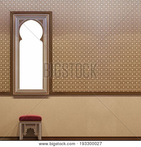 3d illustration hall interior design of a hotel room in a traditional Islamic style. Beautiful deluxe room Ramdan Kareem background interior view decorated with Islamic motifs.
