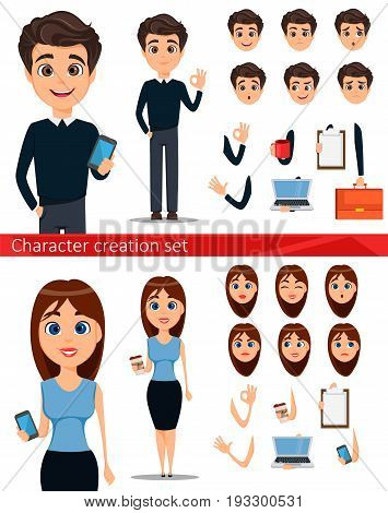 Business man and business woman cartoon characters creation set. Build your personal design - stock vector