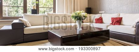 Panorama of beige and brown home design