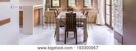 Panorama of dining room in luxury house