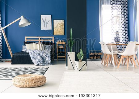 Cozy modern apartment in shades of blue