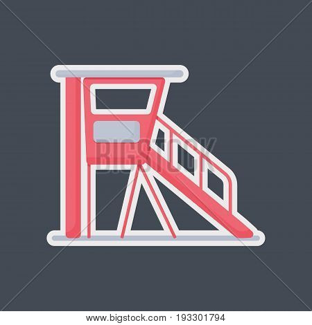 Lifeguard station vector flat icon Flat design of life guard professional equipment sticker isolated on the dark background vector illustration