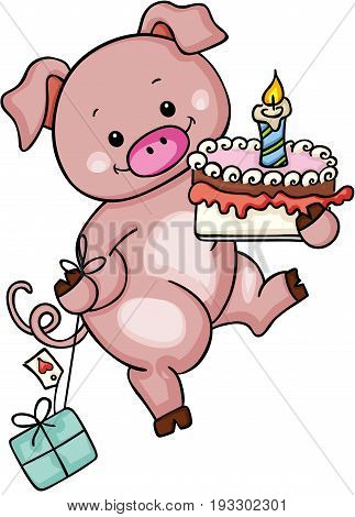Scalable vectorial image representing a cute pig holding birthday cake and gift, isolated on white.