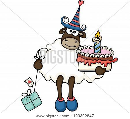 Scalable vectorial image representing a sheep holding birthday cake and gift, isolated on white.