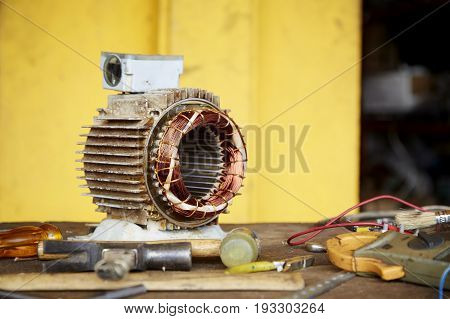 Old Disassembled Electric Motor