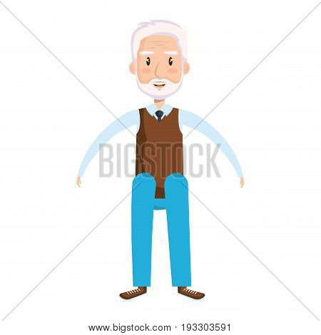 cute grandfather sitting pose avatar character vector illustration design