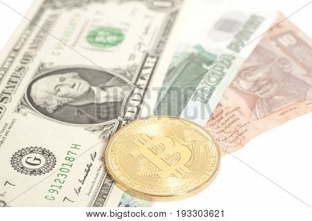 Golden Bitcoin With U.s. Dollar,ruble End Rupee Banknotes Isolated On White