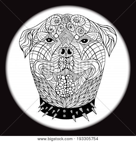 An ethnic animal. Doodling pattern. Wild dog. A dog's head. Illustration of drawing hands in style zentangle - Stock Vector Illustration
