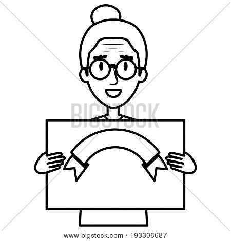 cute grandmother with card avatar character vector illustration design