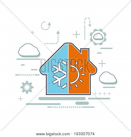 Icon of the regulator climate control. Logo of ventilation and air conditioning facilities. Construction of buildings from weatherproof materials. Vector stock graphics.
