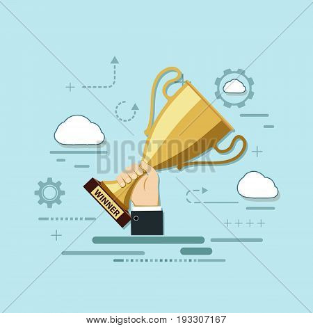 Man holds a gold cup in his hand. Icon of development and achievements. Logo victory in competition and business success. Getting experience and skills in work. Vector stock graphics.