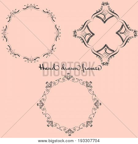 A set with three hand drawn frames. EPS 8 vector
