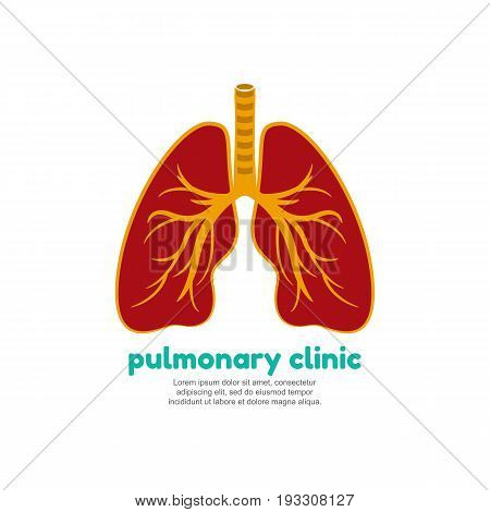 Template logo for human lungs. Pulmonary clinic