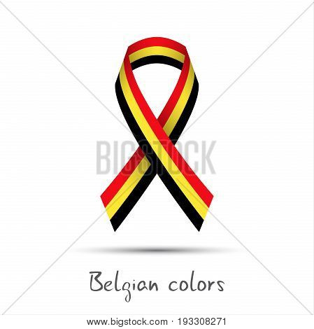 Modern colored vector ribbon with the Belgian tricolor isolated on white background abstract Belgian flag Made in Belgium logo