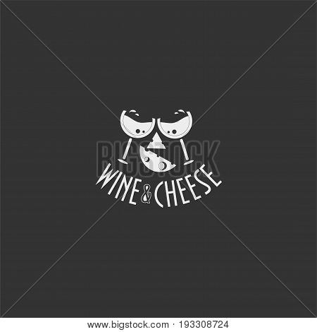 Wine and cheese vintage label. Great as wine and cheese tasting, festival or promo template or icon.