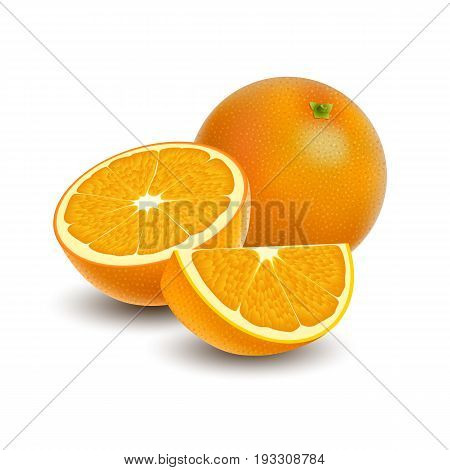 Isolated colored group of orange slice half and whole juicy fruit with shadow on white background. Realistic citrus