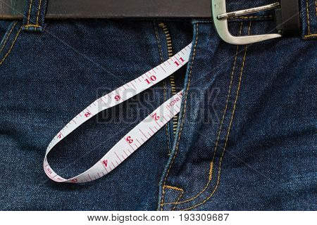 Jeans Open Zip With Measuring Tape, Big Penis Size Concept