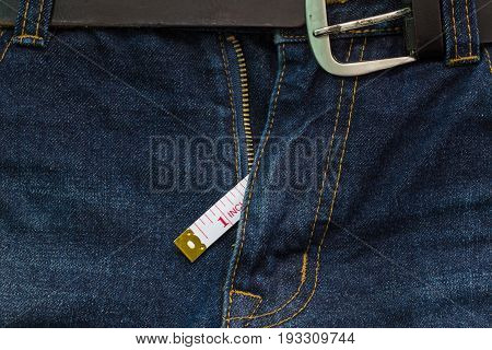 Jeans Open Zip With Measuring Tape, Small Penis Size Concept