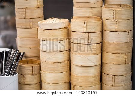 Dim Sum Bamboo Steamer Basket in chinese food and restaurant.