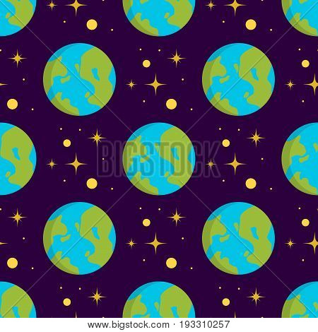 Solar system space planets galaxy earth seamless pattern universe planet astronomy star science cosmos vector illustration. Colorful cartoon fantasy cosmic planets space background.