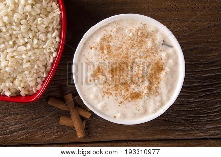 Brazilian Dessert Sweet Canjica Of White Corn With Pacoca Sweet In Bowl And Towel. Festa Junina Part